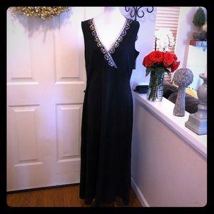 NWOT Spiegal Embellished Neckline Black Maxi Dress